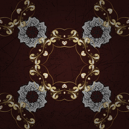 Pattern on brown background with golden elements. Classic vintage background. Vector illustration. Traditional orient ornament. Classic vector golden pattern.