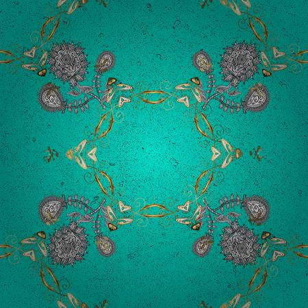 attern: ?attern on blue background with golden elements. Vector golden pattern. Oriental style arabesques. Golden textured curls. Illustration