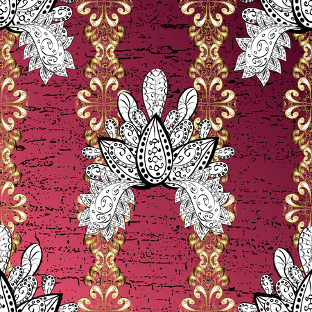 Golden pattern. Metal with floral pattern. Background with golden elements. Vector golden floral ornament brocade textile pattern.