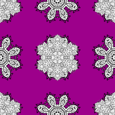 Damask seamless repeating background. White Sketch on texture background. White element on magenta background. White floral ornament in baroque style.