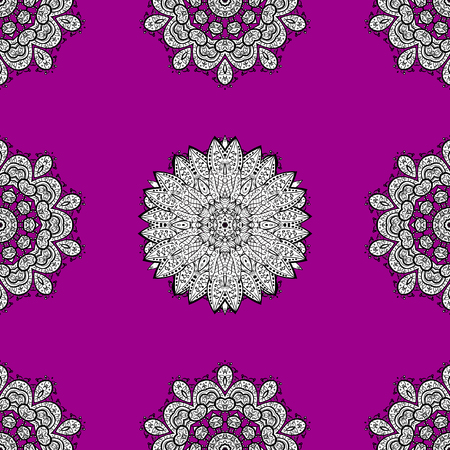 Eastern style element. Vector illustration for invitations, cards, web page. White outline floral decor. Line art seamless border for design template. White element on magenta background. Illustration