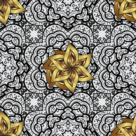 Golden pattern on gray background with golden elements. Floral tiles. Vector golden textile print. Seamless pattern oriental ornament. Islamic design. Illustration