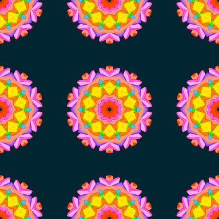 Mandala style. Rich ethnic striped seamless pattern geometric design. Vector illustration. Colored mandala on black background.