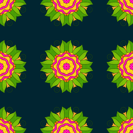 Colored elements abstract vector decorative ethnic mandala sketchy seamless pattern Illustration