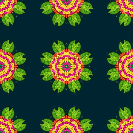 Decorative Indian Round Mandala on blue background. Islam, Arabic, Indian, Turkish, Pakistan. Colored over blue. Christmas Card Mandala Design. Vintage pattern. Invitation Card, Scrapbooking. Illustration