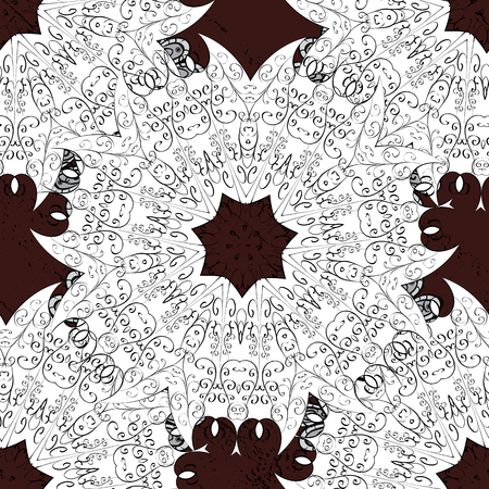 Seamless royal luxury white baroque damask vintage. Vector seamless pattern with white antique floral medieval decorative, leaves and white pattern ornaments on brown background.