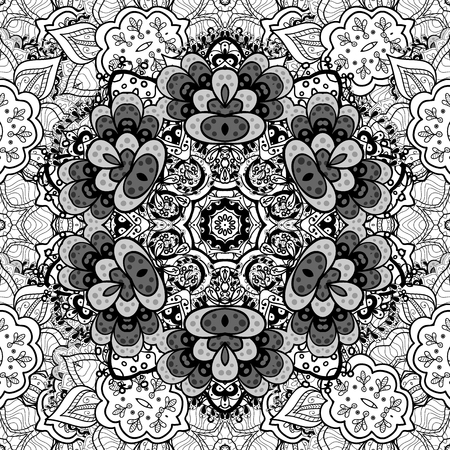 Vector oriental ornament. Seamless pattern on brown background with white elements. Seamless white pattern. Illustration