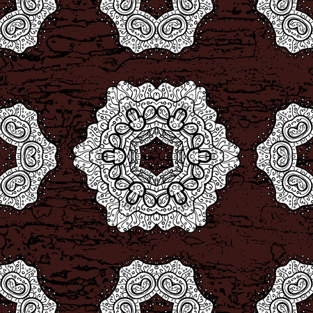 Vector white pattern. Ornamental textured curls. Oriental style arabesques white pattern on a brown background with white elements.