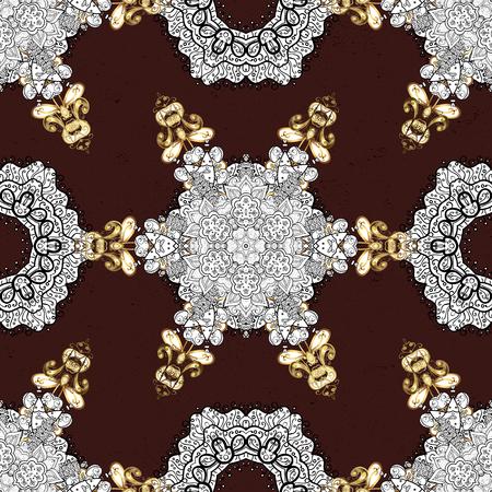 attern: ?attern on brown background with golden elements. Golden textured curls. Vector golden pattern. Oriental style arabesques.