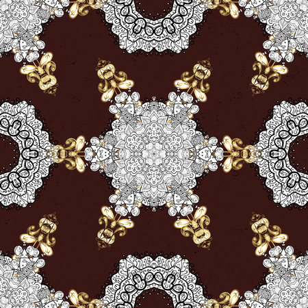 ?attern on brown background with golden elements. Golden textured curls. Vector golden pattern. Oriental style arabesques.