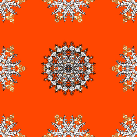 Vector illustration. Seamless oriental classic golden pattern. Vector abstract background with repeating elements on orange background. Illustration