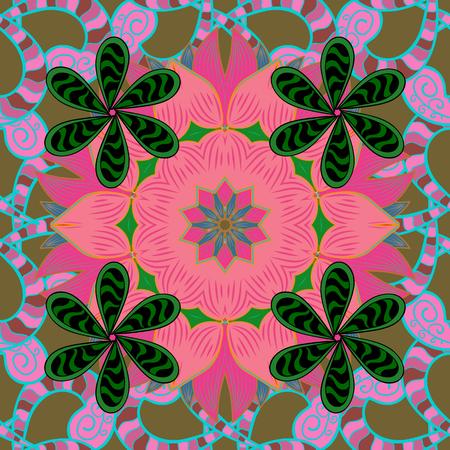 Islam, Arabic, Indian, turkish, pakistan, chinese, ottoman motifs. Vintage vector decorative elements. Colored Mandalas on red background. Oriental pattern.