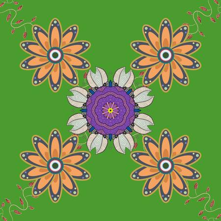 admirable: Islam, Arabic, Indian, turkish, pakistan, chinese, ottoman motifs. Oriental pattern. Vintage vector decorative elements. Colored Mandalas on violet background. Illustration