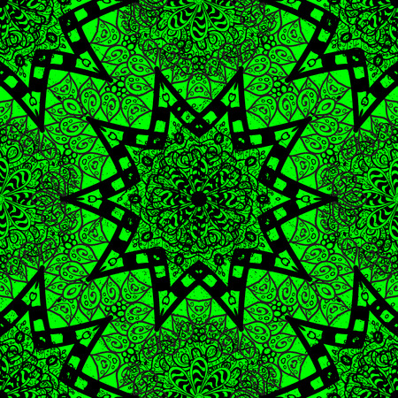 thai motifs: East, Islam, Thai, Indian, ottoman motifs. Vector Mandala colored on green background. Arabic Vintage decorative ornament. Orient, symmetry lace, meditation symbol. Mandala pattern. Abstract Tribal.