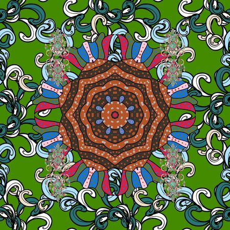 superlative: Colored mandalas element. Vector illustration. Gray background.