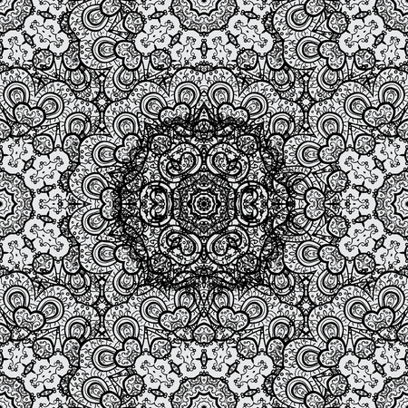 Vintage baroque floral seamless pattern in dim over gray. Luxury, royal and Victorian concept. Dim element on gray background. Ornate vector decoration. Çizim