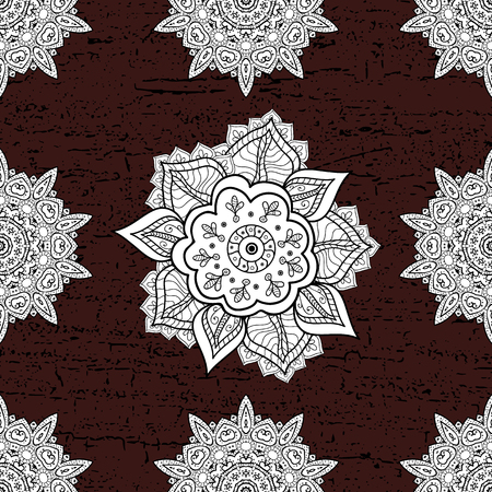 diversified: Seamless pattern for adult coloring book. Ethnic, floral, retro, doodle, vector, tribal design element. Floral doodle. Brown background.