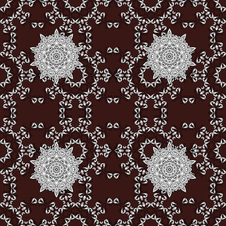 arched: Whiteen pattern on brown background with white elements. Seamless white pattern. Vector oriental ornament. Illustration