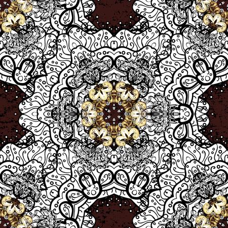 attern: Vector golden pattern. Oriental style arabesques. ?attern on brown background with golden elements. Golden textured curls. Illustration