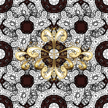 Traditional arabic decor on brown background. Vintage design element in Eastern style.