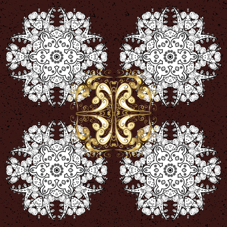 Vector design for textile, sketch, fabric, wrapping paper. Brown and white simple Christmas pattern - varied Xmas snowflakes with dots. Happy New Year winter background.