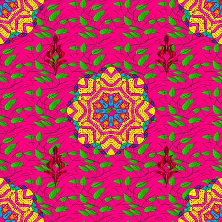 autumn colouring: Outline. Vector doodle seamless pattern with ethnic mandala ornament on a magenta background. Illustration