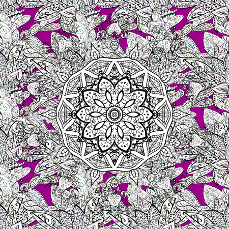 Seamless damask pattern background for sketch design in the style of Baroque. White pattern on magenta background with white elements. Ornate vector decoration.