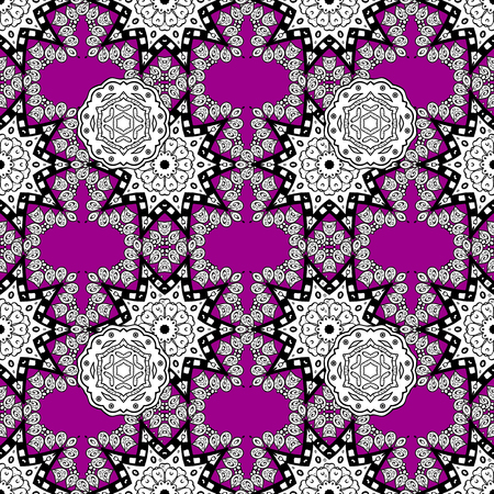Good for greeting card for birthday, invitation or banner. Vector illustration. White on magenta background. Seamless medieval floral royal pattern. Decorative symmetry arabesque.