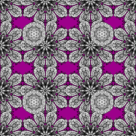 White floral ornament in baroque style. Antique white repeatable sketch. Damask seamless pattern repeating background. White element on magenta background.