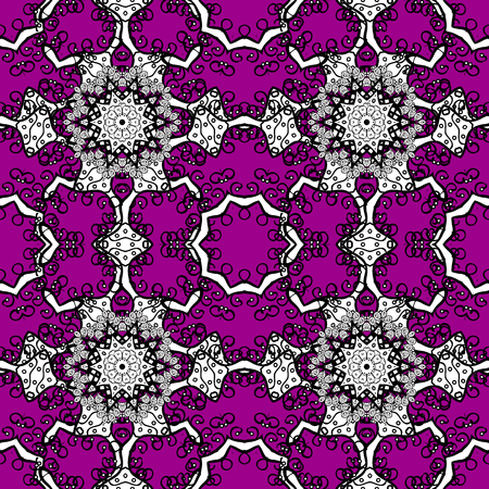 Seamless classic vector magenta and white pattern. Traditional orient ornament. Classic vintage background.