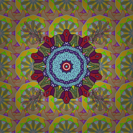jewerly: Template Colored mandala vector circle of  hand drawn on red background.
