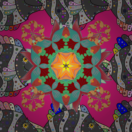 east indian: Vector abstract pattern. Hand-drawn colored mandala on a brown background.