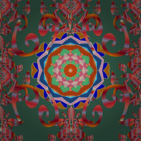 linearity: Vector illustration. Blue background. Colored mandalas element. Illustration
