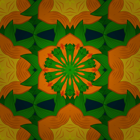 elaborate: Colored mandala logo on blue background. Sacred geometric vector symbol with many petals flower. Illustration