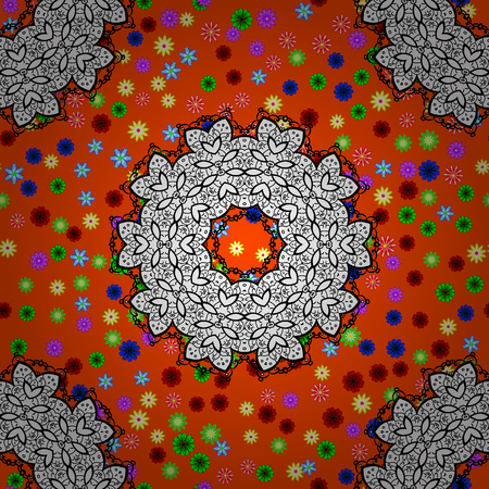 glorious: For textile, invitations, banners and other. Vector illustration. Colored round floral mandala on a orange background. Illustration