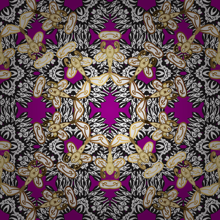 Seamless Golden pattern. Vector oriental ornament. Seamless pattern on magenta background with golden elements and with white doodles. Illustration