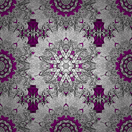 Traditional classic white vector pattern on magenta background with white elements. Seamless oriental ornament in the style of baroque.