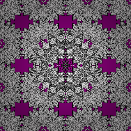 Seamless textured curls. Oriental style arabesques white pattern on a magenta background with white elements. Vector white pattern. Illustration