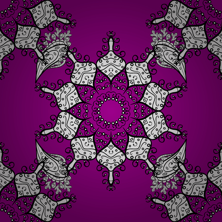 arched: Vector traditional classic white seamless pattern on magenta background. Seamless oriental ornament in the style of baroque.