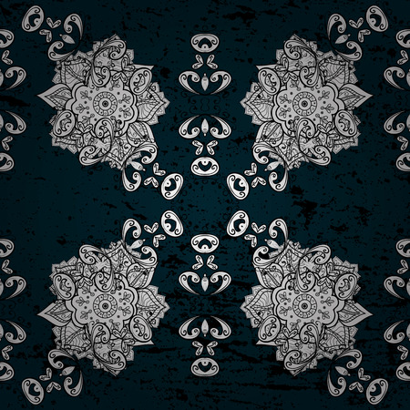 antique furniture: Vector abstract background with white repeating elements on a blue background. Seamless oriental classic white pattern.