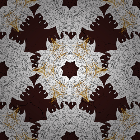 Floral ornament brocade textile pattern, glass, metal with floral pattern on brown background with golden elements. Seamless classic vector golden pattern. Illustration