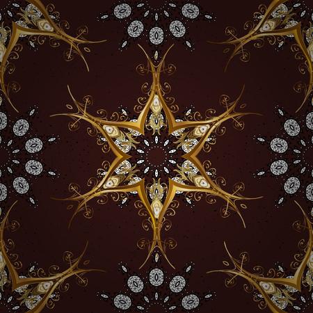 Golden pattern. Vector oriental ornament. Golden pattern on brown background with golden elements.