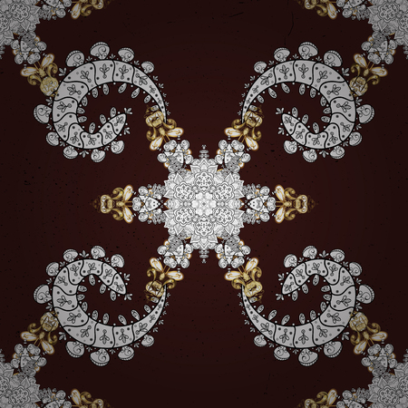 Pattern on brown background with golden elements. Brown tree with gold trim. Element woodcarving. Luxury furniture. Small depth of field. Carving. Furniture in classic style. Patina.