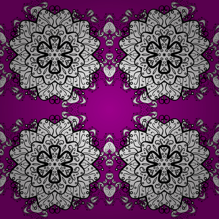 White pattern on magenta background with white elements. Classic vintage background. Traditional orient ornament. Seamless classic vector white pattern.
