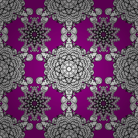 Vintage seamless pattern on a magenta background with white elements. Vector illustration. Illustration
