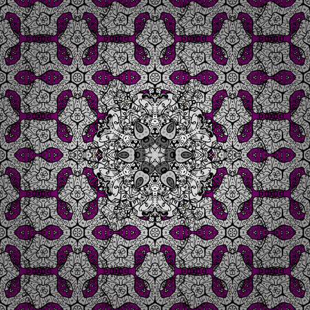 diversified: Seamless damask pattern background for sketch design in the style of Baroque. White pattern on magenta background with white elements. Ornate vector decoration.