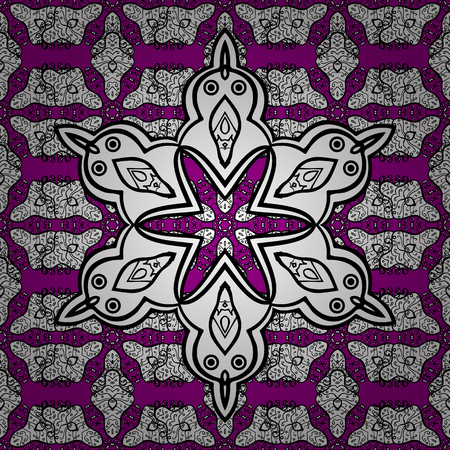 intertwined: Magenta background with white elements. Seamless white textured curls. Vector white pattern. Oriental style arabesques. Vector illustration.