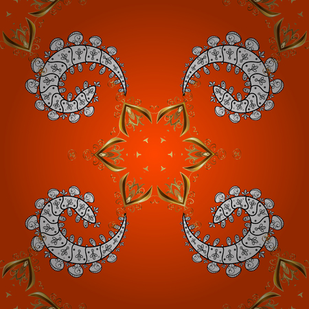 Christmas, snowflake, new year. Seamless vintage pattern on orange background with golden elements and with white doodles. Illustration