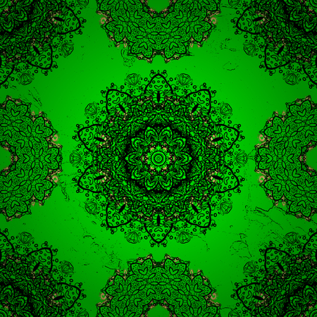 Vector illustration. Oriental colored pattern on green background. Vintage decorative elements. Abstract Mandala.