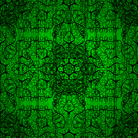 Vector Mandala. Green background. Boho style flower seamless pattern. Tiled mandala design, best for print fabric or papper and more.